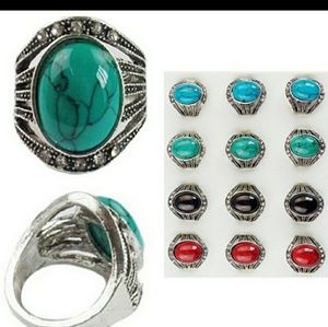 Jewelry - Crackle Stone Rings. Asst Colors
